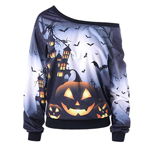(Innerternet Bluse Pullover Damen Casual Lose Bat Kürbis Druck Schulterfrei Sweatshirt Lange Ärmel Oberteile Tops Tunika Halloween Party Kostüme Langarm T-Shirt)