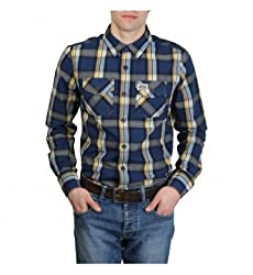 SUPERDRY Mens Casual Shirt (Navy & Yellow, Large)