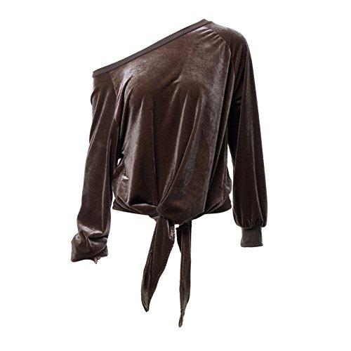 GTKC Donne Pianura Felpe con cappuccio Allentato Arco Felpa Manica Lunga Off Spalla in Velluto Outwear Maglione Camicetta Marrone