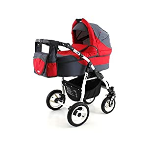 Lux4Kids Pram Stroller 3in1 2in1 Isofix Colour Selection Buggy Car seat Piz Red White 17 4in1 car seat +Isofix   9