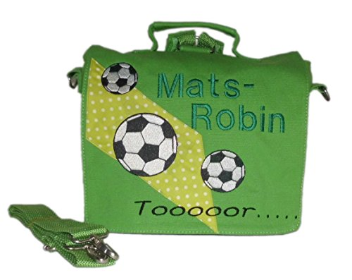 pinkeSterne ☆ Kindergartentasche Kindertasche Multi-Tasche Rucksack Umhängetasche Fußball Fussball Ball (Tasche Tote Bestickte Personalisierte)