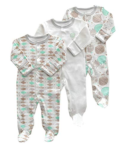 Footie Sleeper (ZIHOUKIJ Neugeborenes Baby Unisex 3 Pack Baumwolle Footies Romper Cartoon Sleeper Pyjamas (Color : Hot air Balloon, Size : 0-3M))