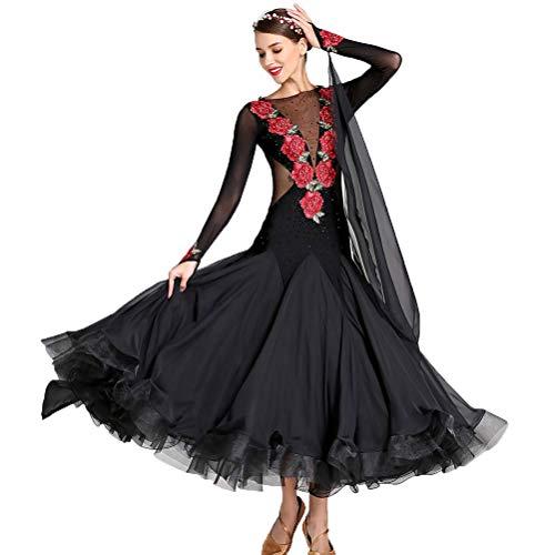 Wangmei Klassische Stickerei Walzer Tango Damen-Tanzkleider, Lyrisch Ballsaal Tanzkleider Frauen, Professionelles Wettkampftanzkostüm A-Line Lange (Irischen Tänzerin Kostüme)