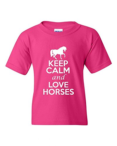 Keep Calm And Love Horses Animals Statement Novelty Youth Kids T-Shirt Tee(XXX-Large) (Horse Youth T-shirt)