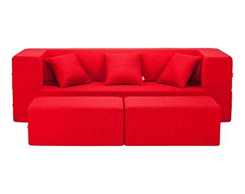 Homemania divano letto modulare biscuit rosso
