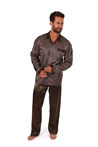 Satin Herren Pyjama lang durchgeknöpft Minimalprint 271 101 94 001, Farbe:braun;Größe:54 (Herren-pyjama Braun)