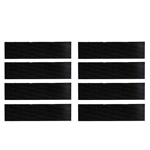 Especificación:      Material: EVA   De color negro    Tamaño: Aprox. 12,2 x 3,15 x 0,2 pulgadas / 31 x 8 x 0,5 cm   Cantidad: 8 Piezas        El paquete incluye:      8x almohadilla de tracción para tabla de surf        Nota:      Por favor,...