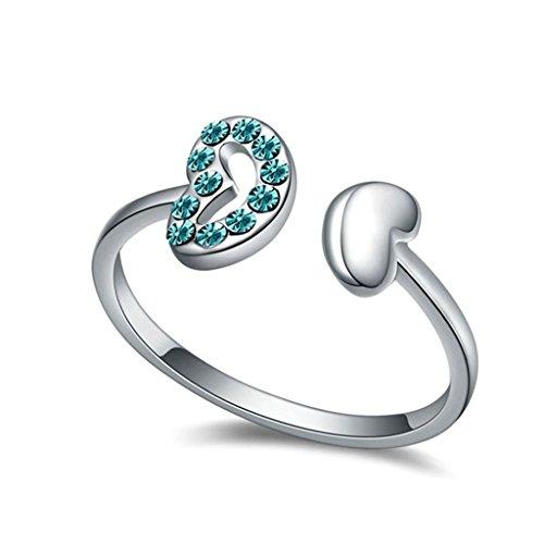 Epinki Damen Ringe, Edelstahl Damenringe Herz Form Verlobungsringe Solitärring Eheringe Ocean Blau mit Zirkonia Gr.57 (Kostüm Keith Stein)