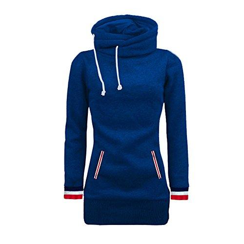 Bluelucon Damen Übergröße Hoodie Langarm Sweatshirts High Neck Jumper Warme Kapuzen Knöpfe Tunnelzug Tunika Blusen