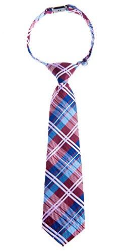 Retreez Jungen Gewebte vorgebundene Krawatte Elegante Tartan Plaid Karo - burgunder, weinrot und blau - 4 - 7 Jahre (Plaid-krawatte Blaue)