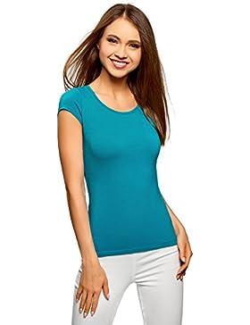 oodji Ultra Mujer Camiseta Básica con Escote Gota EN La Espalda