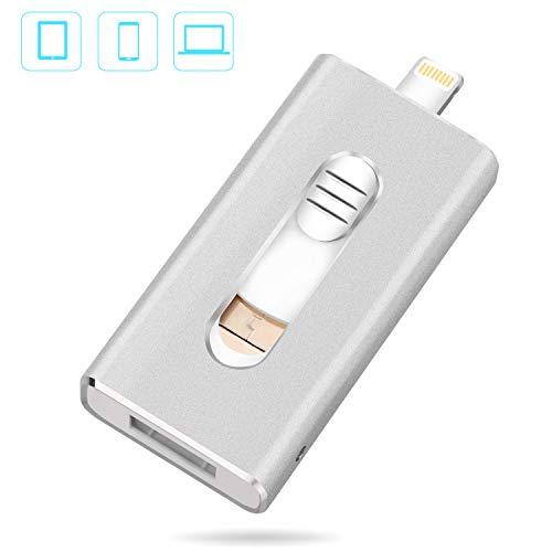 Chiavetta usb flash drive 32gb - juyukeji pendrive memoria usb con usb, micro usb e lightning (3 in 1) otg connettore per apple ios iphone ipad ipod android telefono pc tablet computer (argento)