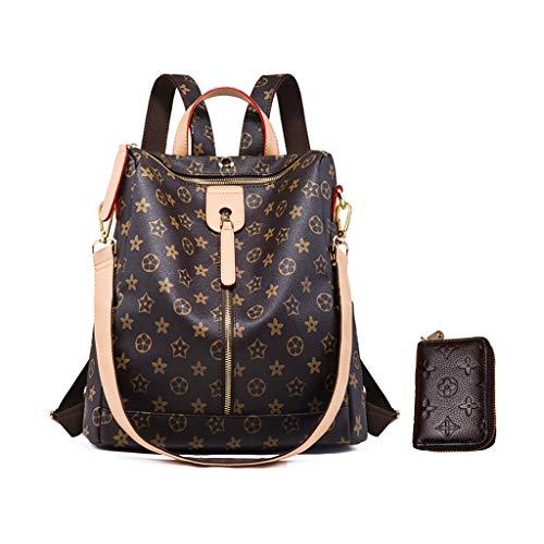 LXJSTOREEU Rucksack für Frauen, Designer-Schultertasche,modischer Rucksack, Geldbörse, Leder mit Reißverschluss (single-zipper) (Vuitton Handtaschen Damen Louis)