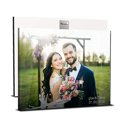 wandmotiv24 Geschenke Hochzeit - Acrylglas mit Foto und Text - personalisierte Hochzeitsgeschenke für Brautpaar - Hochzeits-Geschenk für Frauen, Männer - 30 x 20 cm (BxH)