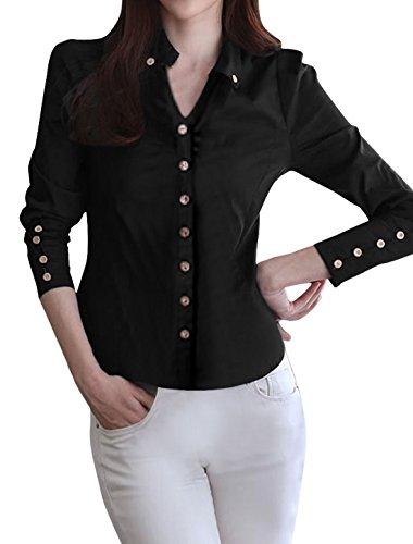 Allegra-K-Women-Point-Collar-Long-Sleeve-Button-Decor-Cuffs-Shirt