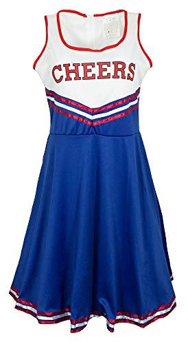 Cheerleader Cheers Kostüm für Damen - Blau Weiß Rot - Gr. (50's Cheerleader Kostüm)