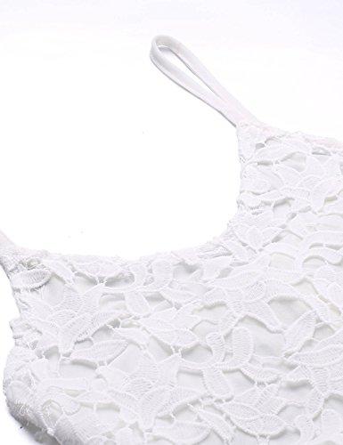cooshional Damen Spaghetti Kleid Ärmellos Lace Party Hollow Out Minikleid Weiß