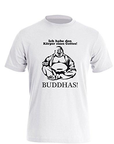 Ich habe den Körper eines Gottes! Buddhas! - Herren TShirt Weiß / Schwarz