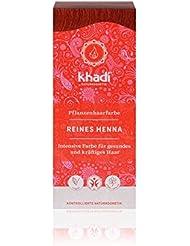 khadi Pflanzen-Haarfarbe Reines Henna 100g I Natur-Haarfarbe Orange-Rot Kupfer Dunkel-Rot I vegane Haar-Färbung aus Indien I hohe Grauabdeckung I Naturkosmetik ohne künstliche Zusätze