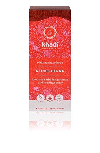 Khadi Pflanzen-Haarfarbe Reines Henna 100g I Natur-Haarfarbe Orange-Rot Kupfer Dunkel-Rot I vegane...