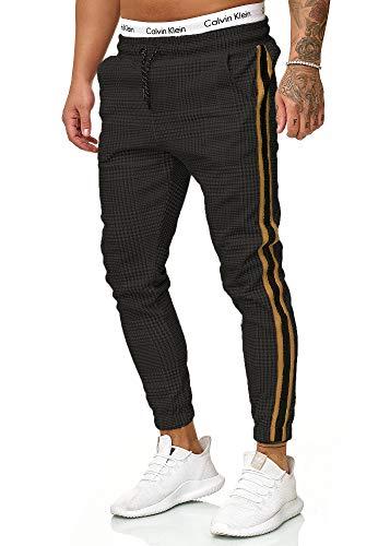 OneRedox Herren | Jogginghose | Trainingshose | Sport Fitness | Gym | Training | Slim Fit | Sweatpants Streifen | Jogging-Hose | Stripe Pants | Modell 1226 Schwarz Gold S