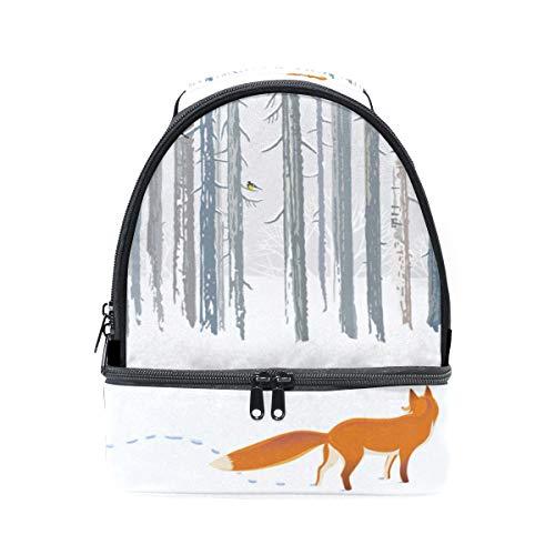 Schultertasche Doppel-Lunchtasche im Querformat, Winter, Wald, Schnee, Fuchs, Kühler, verstellbarer Gurt für Picknick