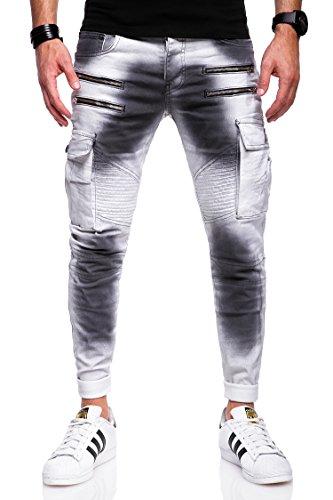 Behype Herren Jeans-Hose Biker mit Zipper & Cargo Tasche 80-3196 Weiss 31 (Tasche Herren Weiß)