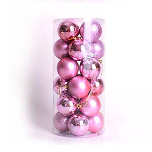 TREESTAR Baumstar Weihnachts-Gadgets Mini-Weihnachtsball-Hotel-Anhänger, glitzernd,, 24 Stück, Plastik, Rose, 4 cm -