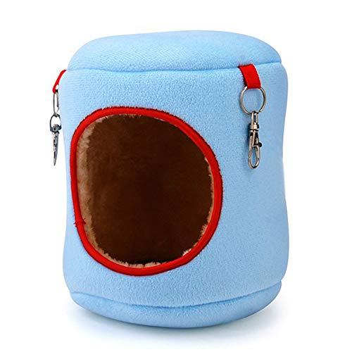 Cama cálida Rata Hamaca Ardilla Juguetes de Invierno Jaula para hámster para Mascotas Colgar Nido Duradero Juguete Cómodos Suministros para Mascotas - Azul - 9x9x10cm
