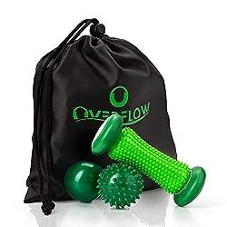 OVERFLOW Fussmassage Set - Fussmassageroller + Igelball + Massageball - Entspannung und Schmerzlinderung durch Fussmassage - inkl. praktischer Transporttasche
