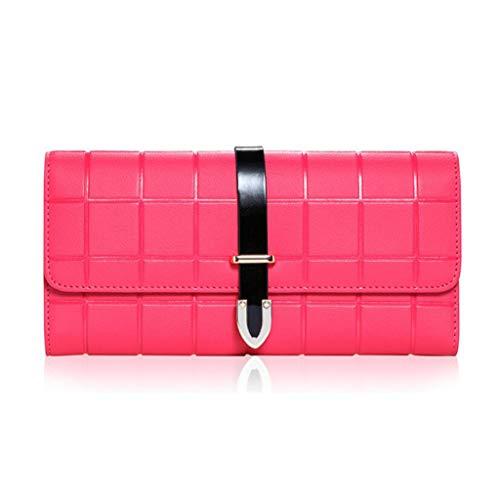 GKKXUE Damen Geldbörse Lange Damen Leder Geldbörse Damen Clutch Bag Geldbörse (Farbe : Pink, größe : One Size)