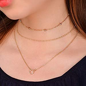 XUHAHAXL Halskette/Mode-Accessoires, Multi-Layer-Sets Von Kupfer Perlen Anhänger Halskette Halskette