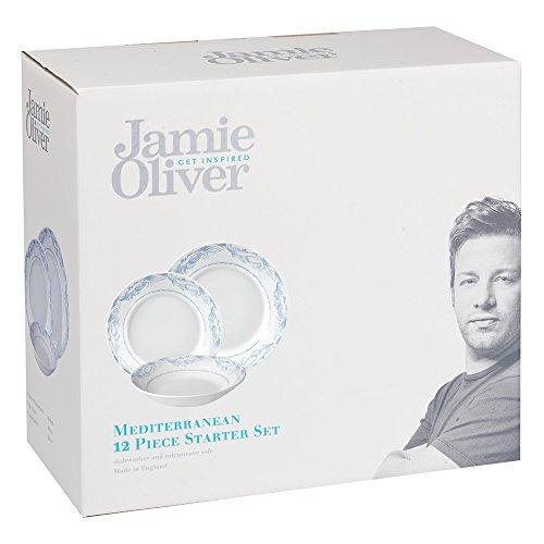 Jamie Oliver 12-Piece Earthenware, Mediterranean Dinnerware Set, Set of, Multi-Colour