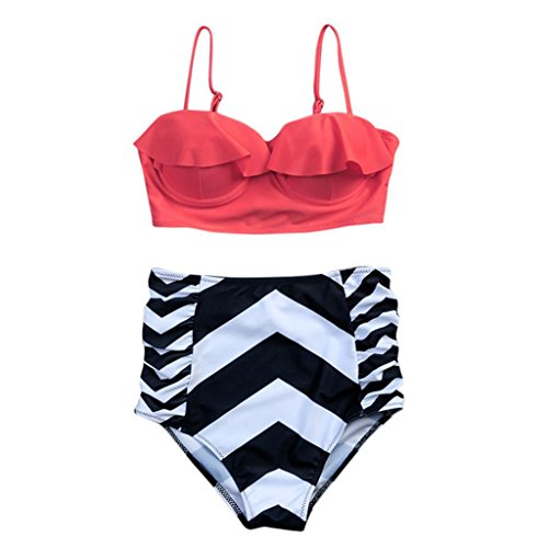 jaminy Plus Größe Sexy Frauen Floral Gepolsterter Push BH Baden Badeanzug (Bikini Halfter Stretch-rüschen)