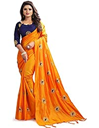 IndoPrimo Women's Paper Silk Embroidered Wedding Wear Saree With Blouse Piece (Free Size, Multi Colour)