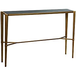 Mesa recibidor de metal dorado y cristal negro