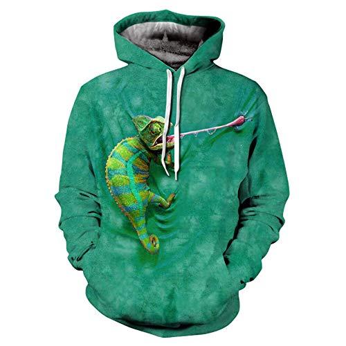 WEIYIGE Sweatshirt 3D Printemps Et Été Wind 3D Lizard Print Sports Et Loisirs Sweat À Capuche Tops Peuvent Être Personnalisés