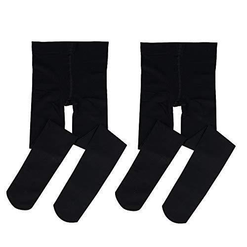 Bezioner 2 Paar Kinder Ballett Strumpfhose Tanzstrumpfhose mit Fuß für Kinder und Damen,Schwarz 2 Paare,M