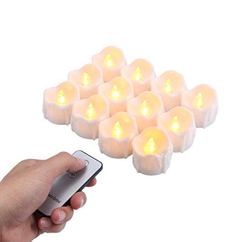 Realistische und Helle Batteriebetriebene Flammenlose Kerze, Die LED-Teelicht mit Fernbedienung, Warmes Gelb (Batteriebetriebene Teelichter)