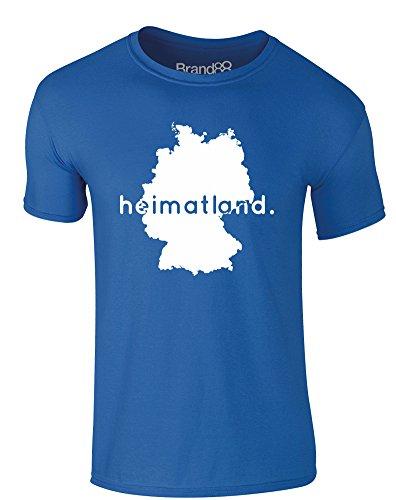 Brand88 - Heimatland, Erwachsene Gedrucktes T-Shirt Königsblau/Weiß