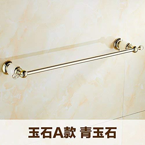 HUAIX Home Gold überzogenes Badezimmer-Marmor-Einhebel-Einzelschicht-Handtuchhalter-Handtuchstange-voller Kupfer-Jade-Handtuchhalter (grüne Jade -