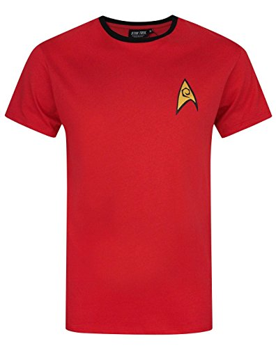 Kostüm Shirt Captain Trek Star Kirk - Star Trek - Herren T-Shirt - Uniform von Spock, Scotty, Captain Kirk - Offizielles Merchandise - Geschenk - Rot - L
