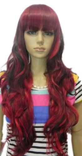 men Perücken Langen Lockigen Roten Wellen Schwarz Mix Volles Haar Cosplay Perücke (Lockigen Roten Perücke)