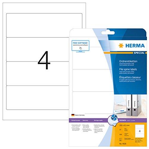 Herma 4826 Tintenstrahldrucker Ordnerrücken Etiketten breit/kurz (192 x 61 mm) 100 Ordneretiketten, 25 Blatt DIN A4 Papier matt, weiß, bedruckbar, selbstklebend