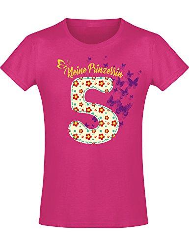 Mädchen Geburtstags T-Shirt: 5 Jahre mit Blumen - Fünf Fünfter Geburtstag Kind-er - Geschenk-Idee - Prinzessin Princess - Glitzer Pink Rosa - Niedlich - Kindergeburtstag - Jahrgang 2014 (128)