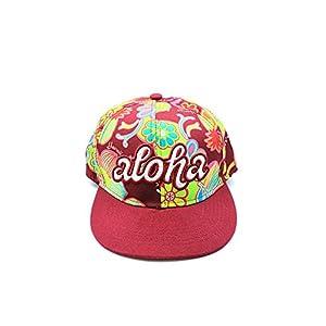 Impresin-floral-de-Hawaii-con-el-casquillo-slido-del-sombrero-de-EmbroideRojo-de-Aloha-en-Rojo