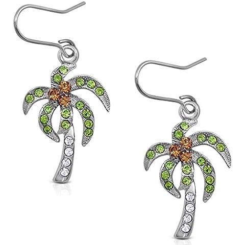 Plata tono Tropical/Árbol de Coco Pendientes largos con cristales, color marrón claro, y verde