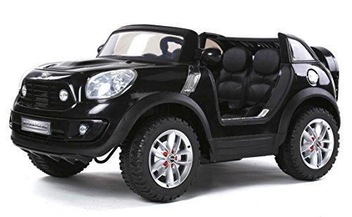 MINI Beachcomber Negro, Los niños del coche, los niños del coche eléctrico, coche niños, 2x motor, batería de 12 V, con mando a distancia