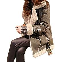 d8525a0c7524 OranDesigne Damen Mäntel Mode Warm Streetwear Winter Faux Wildleder  Shearling Reißverschluss Jacke Slim Fit Revers Outwear