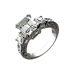 Platinum Plated, 4 Prong Set, 9MM Clear Emerald Cut CZ Diamond, Band Ring, 8.0GMS - 6